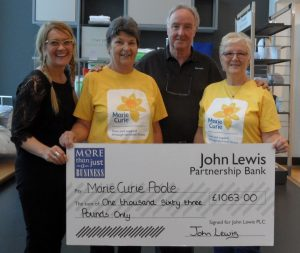John Lewis customers donation to Marie Curie Poole