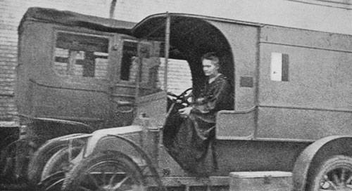 Marie Curie driving a mobile X-ray Unit