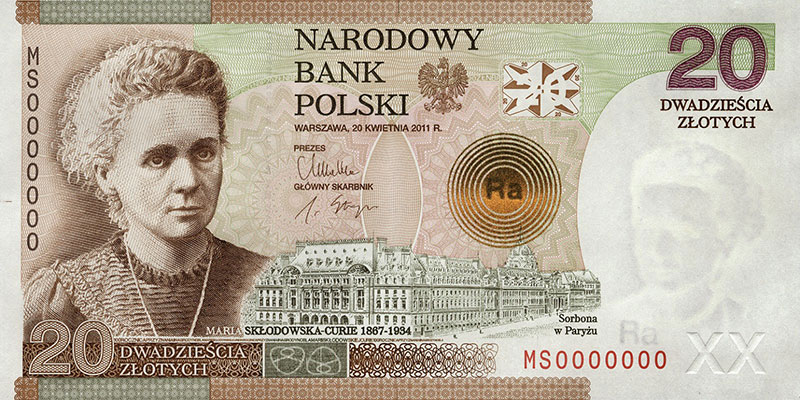 Polish 20-Zloty banknote featuring Marie Curie's image
